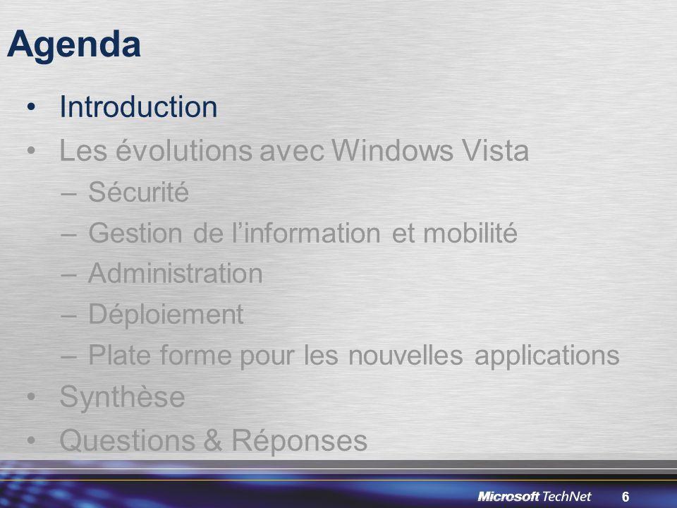 6 Agenda Introduction Les évolutions avec Windows Vista –Sécurité –Gestion de l'information et mobilité –Administration –Déploiement –Plate forme pour les nouvelles applications Synthèse Questions & Réponses