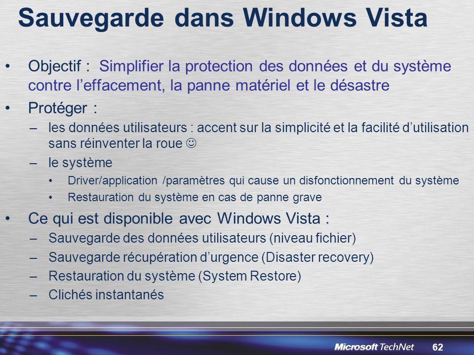 62 Sauvegarde dans Windows Vista Objectif : Simplifier la protection des données et du système contre l'effacement, la panne matériel et le désastre Protéger : –les données utilisateurs : accent sur la simplicité et la facilité d'utilisation sans réinventer la roue –le système Driver/application /paramètres qui cause un disfonctionnement du système Restauration du système en cas de panne grave Ce qui est disponible avec Windows Vista : –Sauvegarde des données utilisateurs (niveau fichier) –Sauvegarde récupération d'urgence (Disaster recovery) –Restauration du système (System Restore) –Clichés instantanés