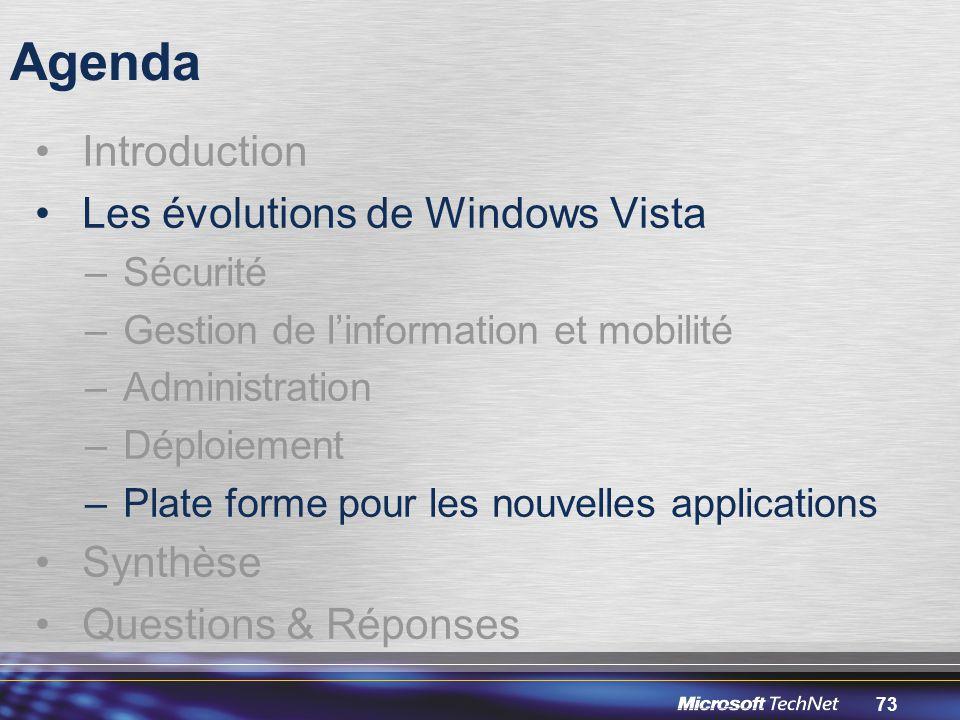 73 Agenda Introduction Les évolutions de Windows Vista –Sécurité –Gestion de l'information et mobilité –Administration –Déploiement –Plate forme pour les nouvelles applications Synthèse Questions & Réponses