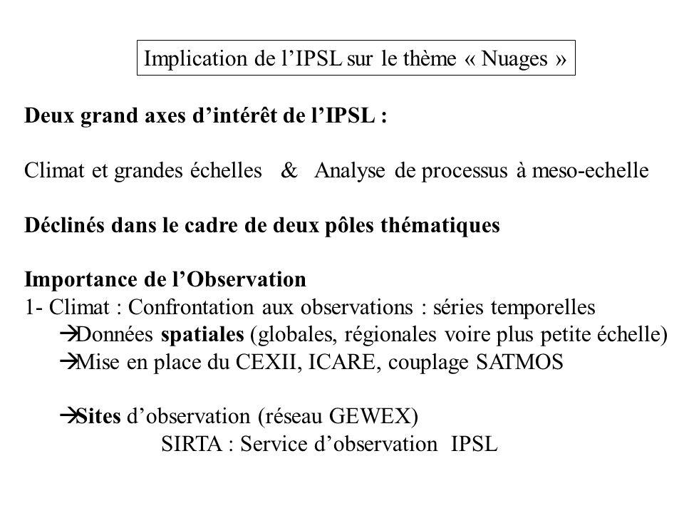 Implication de l'IPSL sur le thème « Nuages » Deux grand axes d'intérêt de l'IPSL : Climat et grandes échelles & Analyse de processus à meso-echelle Déclinés dans le cadre de deux pôles thématiques Importance de l'Observation 1- Climat : Confrontation aux observations : séries temporelles  Données spatiales (globales, régionales voire plus petite échelle)  Mise en place du CEXII, ICARE, couplage SATMOS  Sites d'observation (réseau GEWEX) SIRTA : Service d'observation IPSL