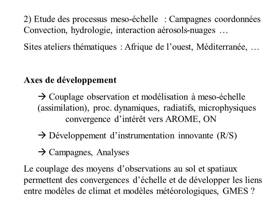 2) Etude des processus meso-échelle : Campagnes coordonnées Convection, hydrologie, interaction aérosols-nuages … Sites ateliers thématiques : Afrique