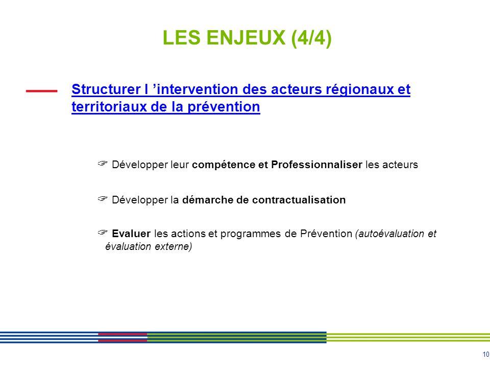 10 LES ENJEUX (4/4) Structurer l 'intervention des acteurs régionaux et territoriaux de la prévention  Développer leur compétence et Professionnalise