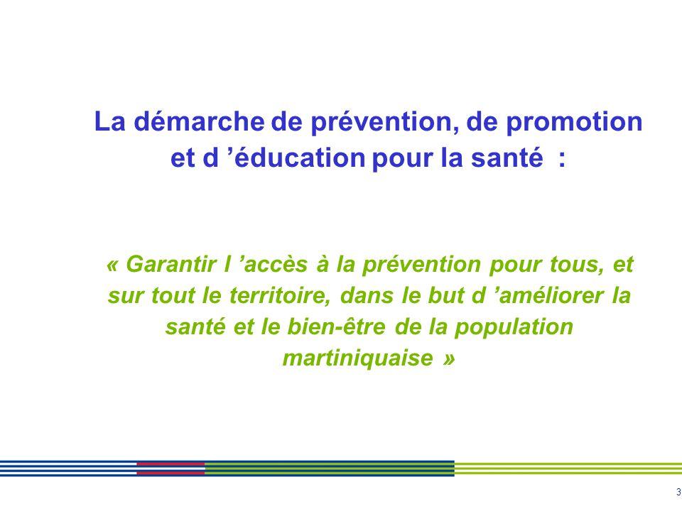 3 La démarche de prévention, de promotion et d 'éducation pour la santé : « Garantir l 'accès à la prévention pour tous, et sur tout le territoire, da