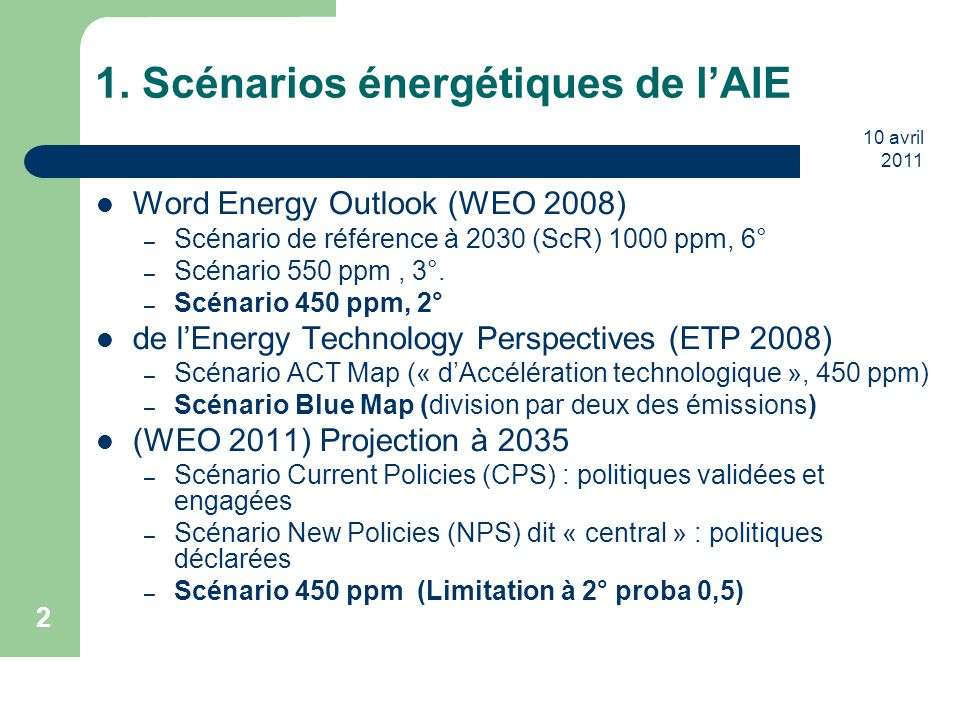 10 avril 2011 13 WEO 2011 : CO2 emissions (by region) In NPS emissions grows from 30,4 to 36,4 Gt CO2 in 2035