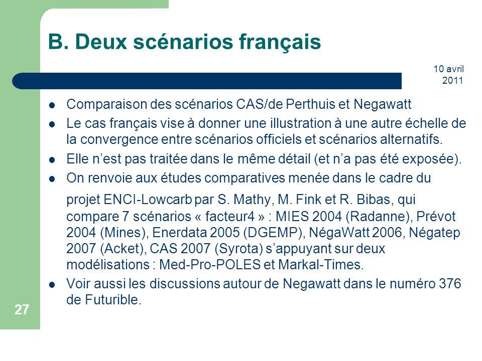 10 avril 2011 27 B. Deux scénarios français Comparaison des scénarios CAS/de Perthuis et Negawatt Le cas français vise à donner une illustration à une