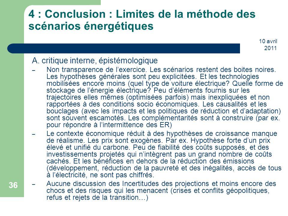 10 avril 2011 36 4 : Conclusion : Limites de la méthode des scénarios énergétiques A. critique interne, épistémologique – Non transparence de l'exerci