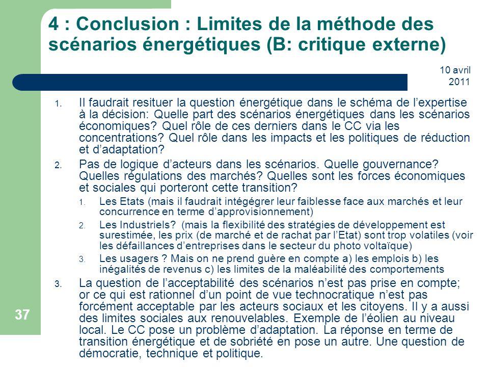 10 avril 2011 37 4 : Conclusion : Limites de la méthode des scénarios énergétiques (B: critique externe) 1. Il faudrait resituer la question énergétiq