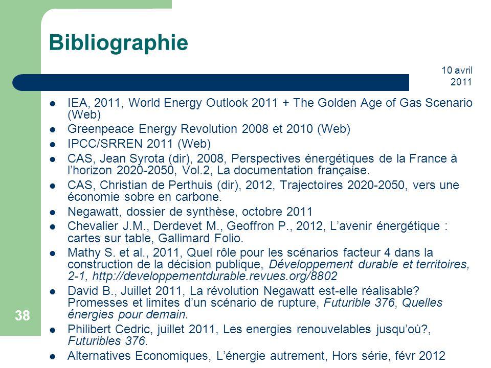10 avril 2011 38 Bibliographie IEA, 2011, World Energy Outlook 2011 + The Golden Age of Gas Scenario (Web) Greenpeace Energy Revolution 2008 et 2010 (