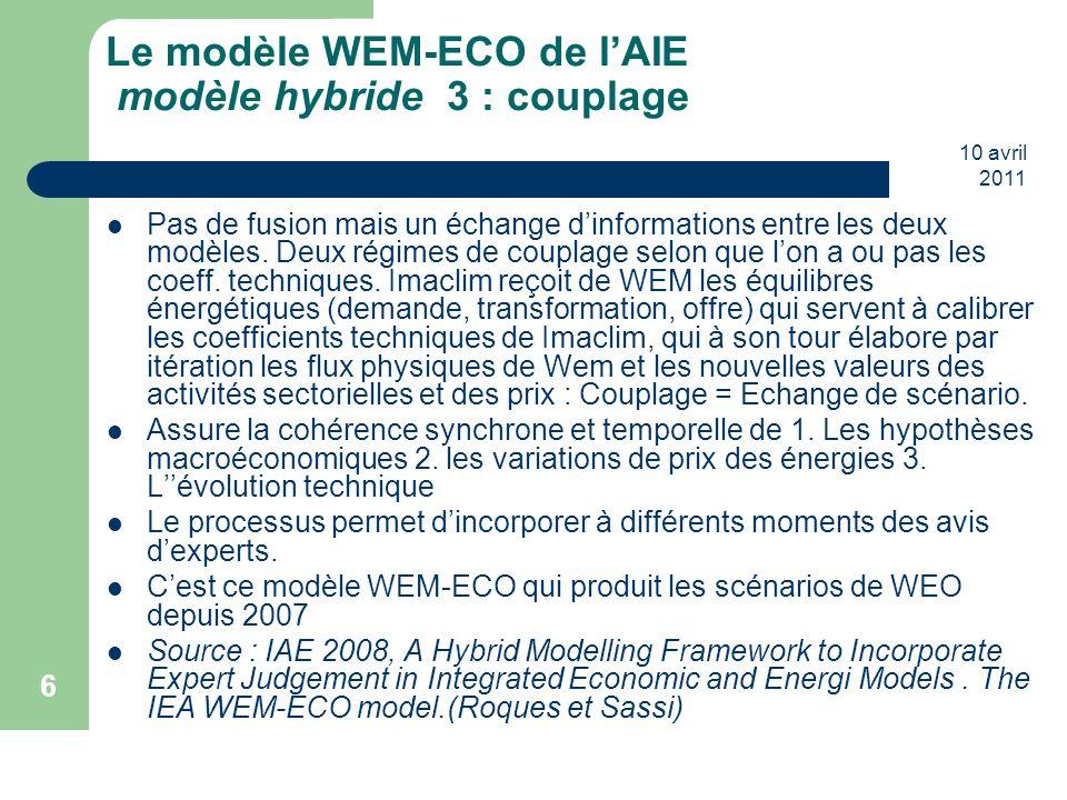 10 avril 2011 6 Le modèle WEM-ECO de l'AIE modèle hybride 3 : couplage Pas de fusion mais un échange d'informations entre les deux modèles. Deux régim