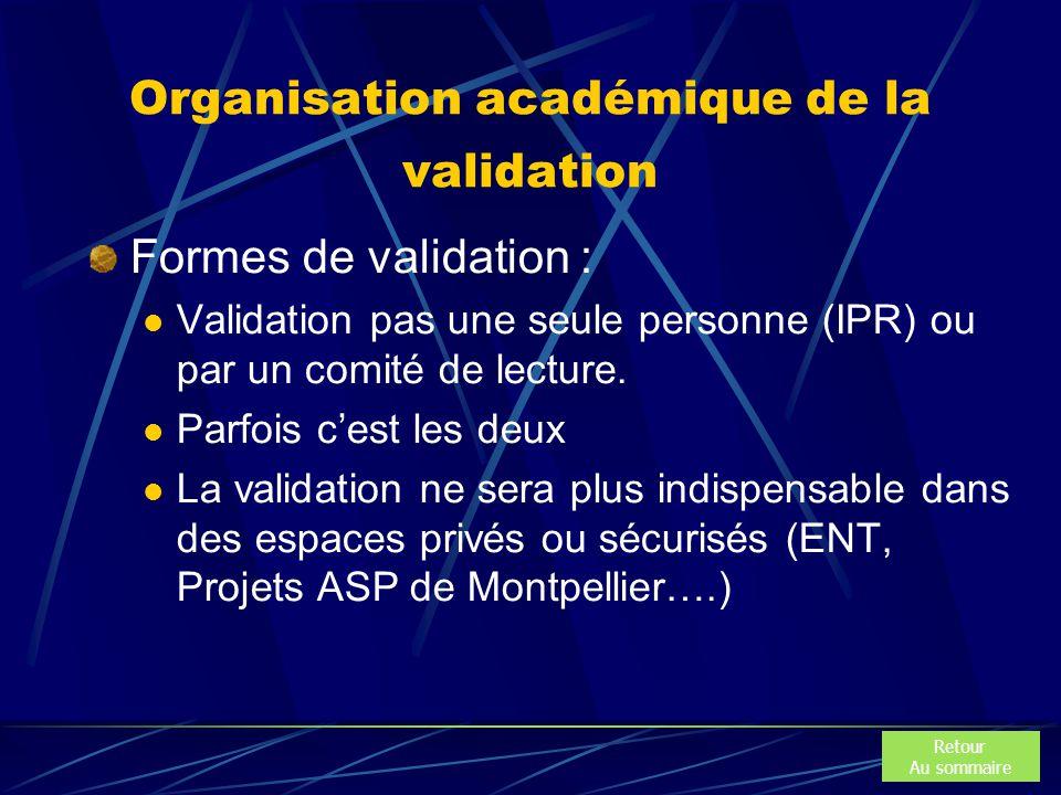 Organisation académique de la validation Formes de validation : Validation pas une seule personne (IPR) ou par un comité de lecture. Parfois c'est les