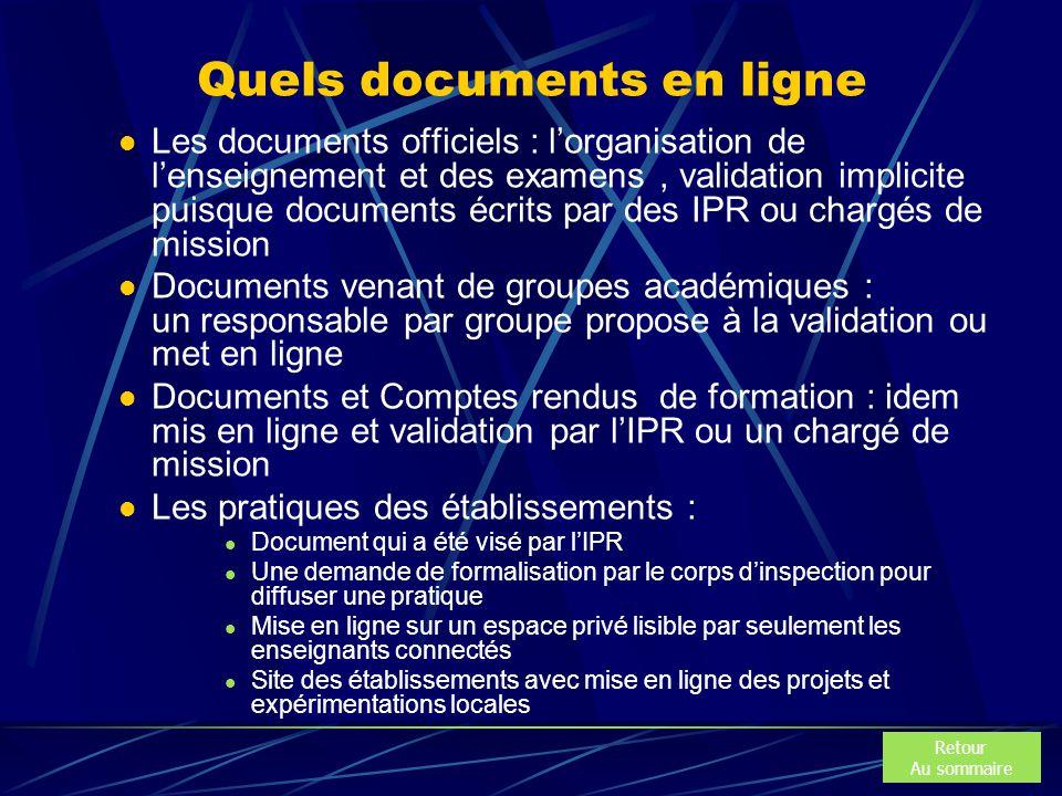 Quels documents en ligne Les documents officiels : l'organisation de l'enseignement et des examens, validation implicite puisque documents écrits par