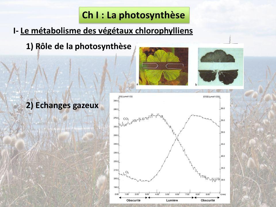 Ch I : La photosynthèse I- Le métabolisme des végétaux chlorophylliens 1) Rôle de la photosynthèse 2) Echanges gazeux