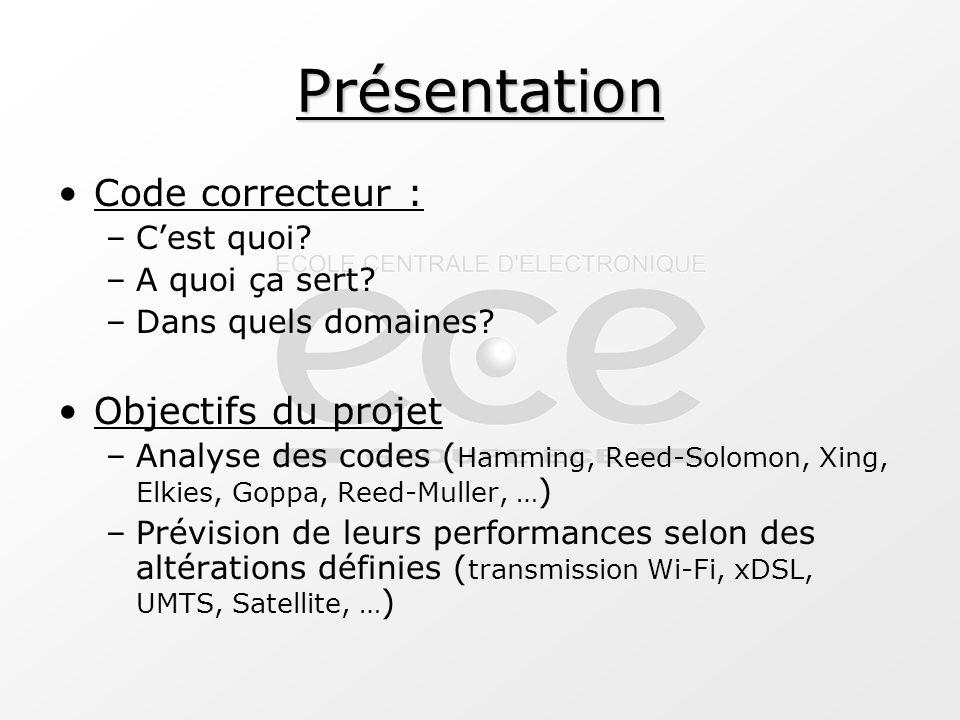 Présentation Code correcteur : –C'est quoi? –A quoi ça sert? –Dans quels domaines? Objectifs du projet –Analyse des codes ( Hamming, Reed-Solomon, Xin