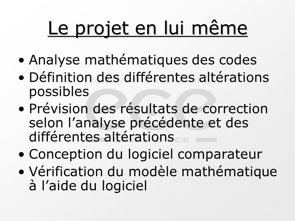 Attentes du projet Obtenir un tableau d'utilisation des codes selon les altérations subies par le signal Définir des optimisations possibles Comprendre le choix d'un code plutôt qu'un autre Compréhension et maîtrise du sujet