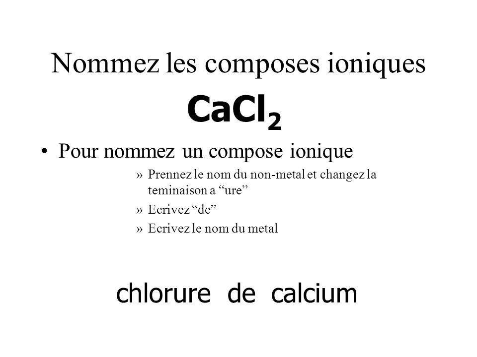 Nommez les composes ioniques Pour nommez un compose ionique »Prennez le nom du non-metal et changez la teminaison a ure »Ecrivez de »Ecrivez le nom du metal CaCl 2 chloruredecalcium