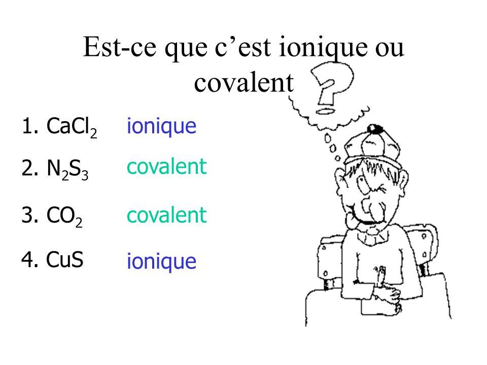 Est-ce que c'est ionique ou covalent 1.CaCl 2 ionique 2.