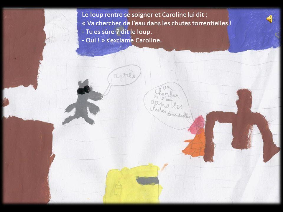 Le loup rentre se soigner et Caroline lui dit : « Va chercher de l'eau dans les chutes torrentielles .