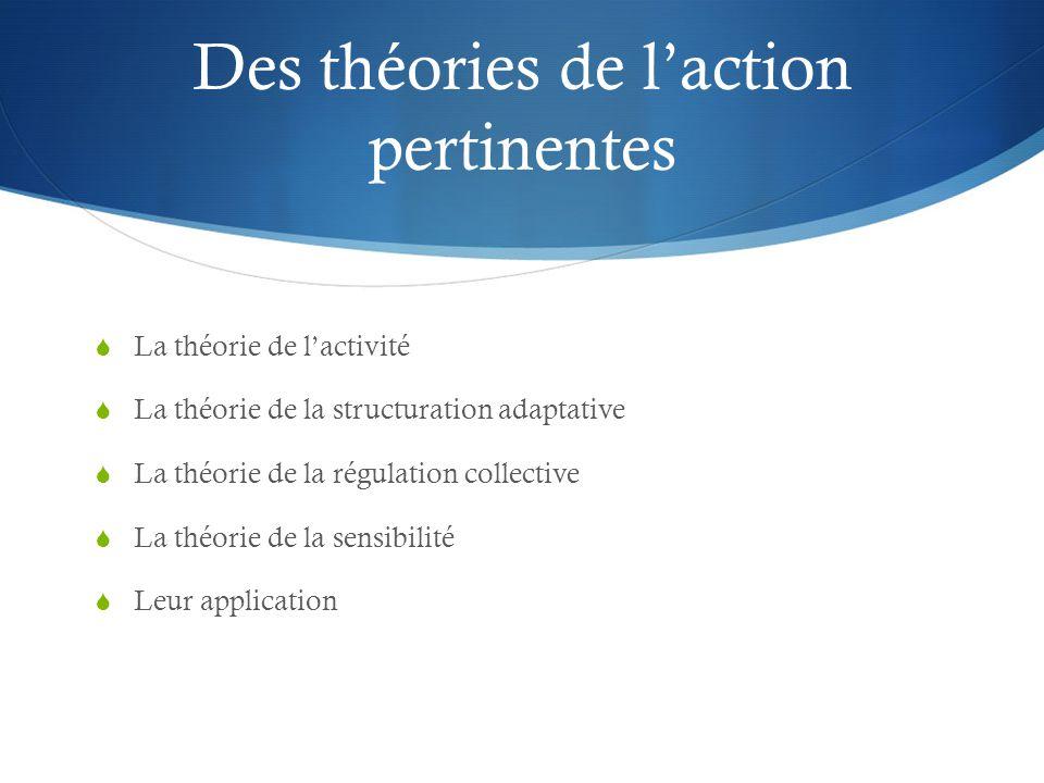 Des théories de l'action pertinentes  La théorie de l'activité  La théorie de la structuration adaptative  La théorie de la régulation collective  La théorie de la sensibilité  Leur application
