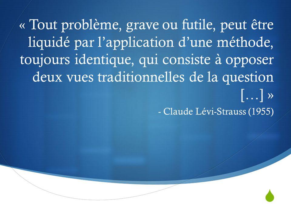  « Tout problème, grave ou futile, peut être liquidé par l'application d'une méthode, toujours identique, qui consiste à opposer deux vues traditionnelles de la question […] » - Claude Lévi-Strauss (1955)
