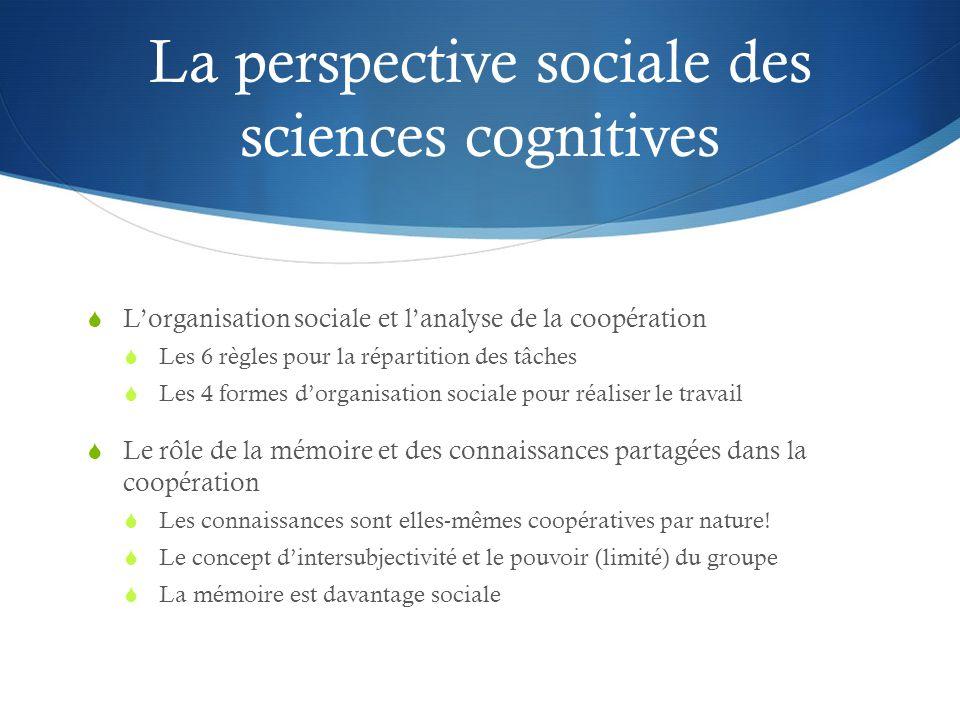 La perspective sociale des sciences cognitives  L'organisation sociale et l'analyse de la coopération  Les 6 règles pour la répartition des tâches  Les 4 formes d'organisation sociale pour réaliser le travail  Le rôle de la mémoire et des connaissances partagées dans la coopération  Les connaissances sont elles-mêmes coopératives par nature.