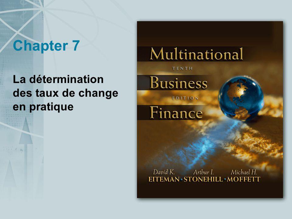 Chapter 7 La détermination des taux de change en pratique