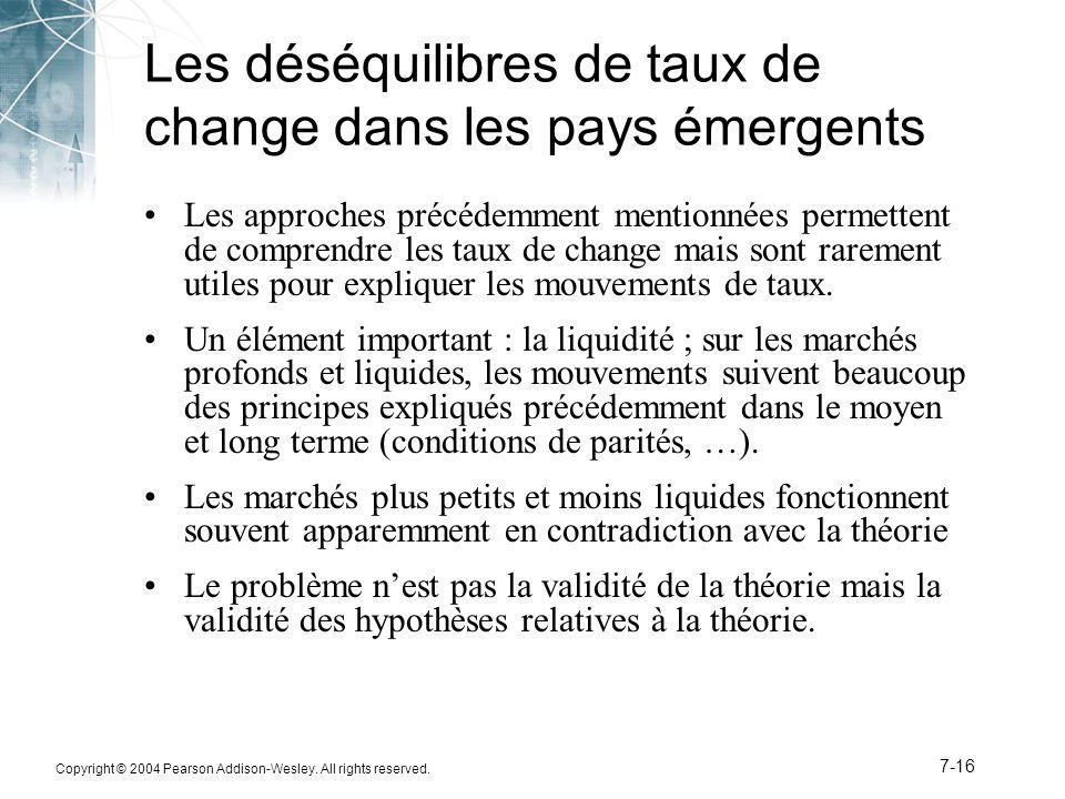 Copyright © 2004 Pearson Addison-Wesley. All rights reserved. 7-16 Les déséquilibres de taux de change dans les pays émergents Les approches précédemm