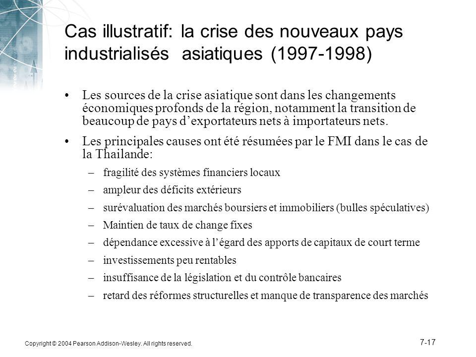 Copyright © 2004 Pearson Addison-Wesley. All rights reserved. 7-17 Cas illustratif: la crise des nouveaux pays industrialisés asiatiques (1997-1998) L