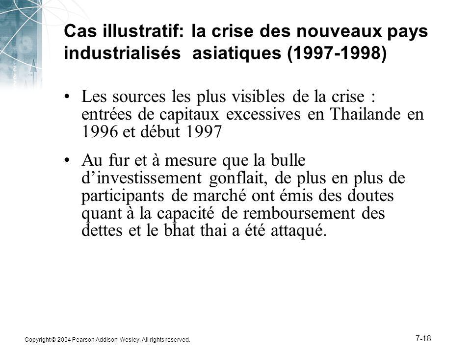 Copyright © 2004 Pearson Addison-Wesley. All rights reserved. 7-18 Cas illustratif: la crise des nouveaux pays industrialisés asiatiques (1997-1998) L