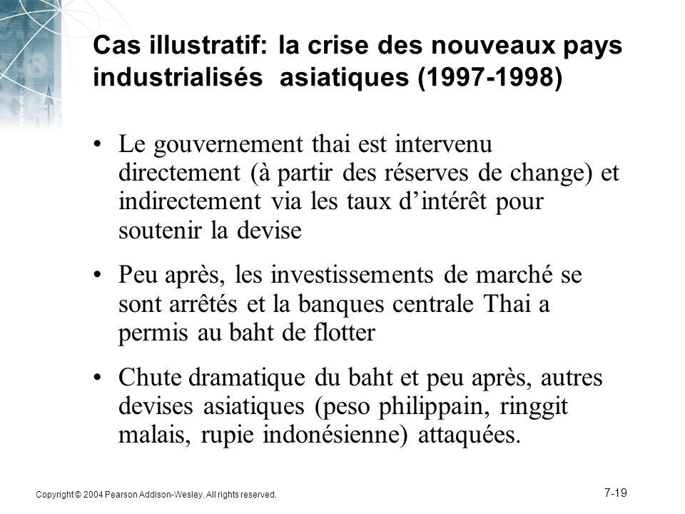 Copyright © 2004 Pearson Addison-Wesley. All rights reserved. 7-19 Cas illustratif: la crise des nouveaux pays industrialisés asiatiques (1997-1998) L