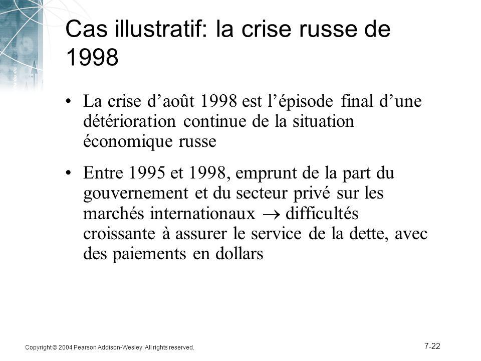 Copyright © 2004 Pearson Addison-Wesley. All rights reserved. 7-22 Cas illustratif: la crise russe de 1998 La crise d'août 1998 est l'épisode final d'