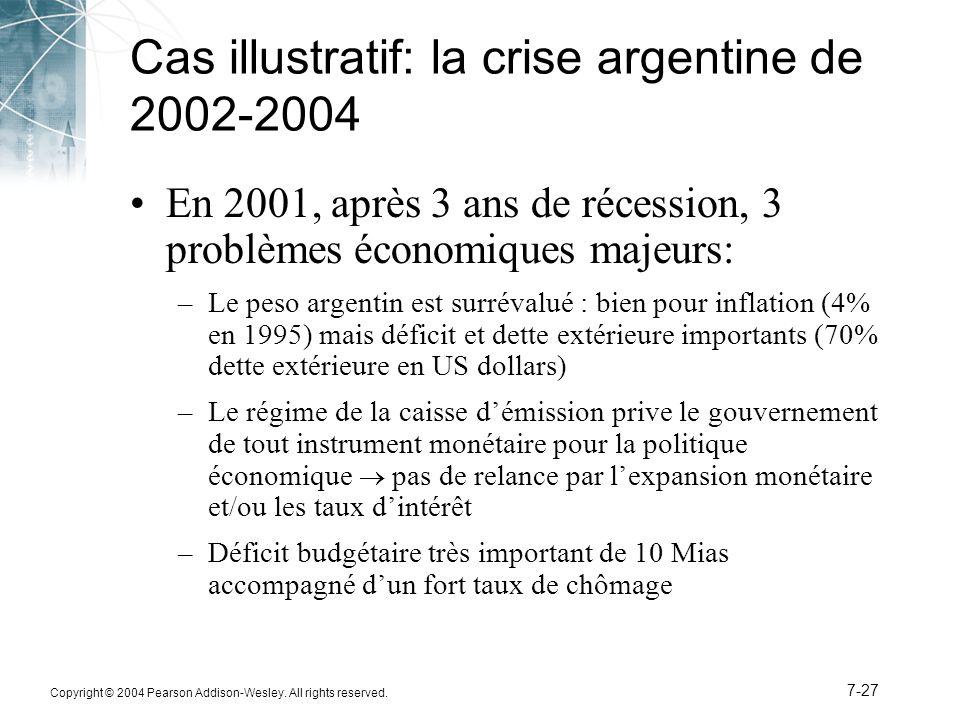 Copyright © 2004 Pearson Addison-Wesley. All rights reserved. 7-27 Cas illustratif: la crise argentine de 2002-2004 En 2001, après 3 ans de récession,