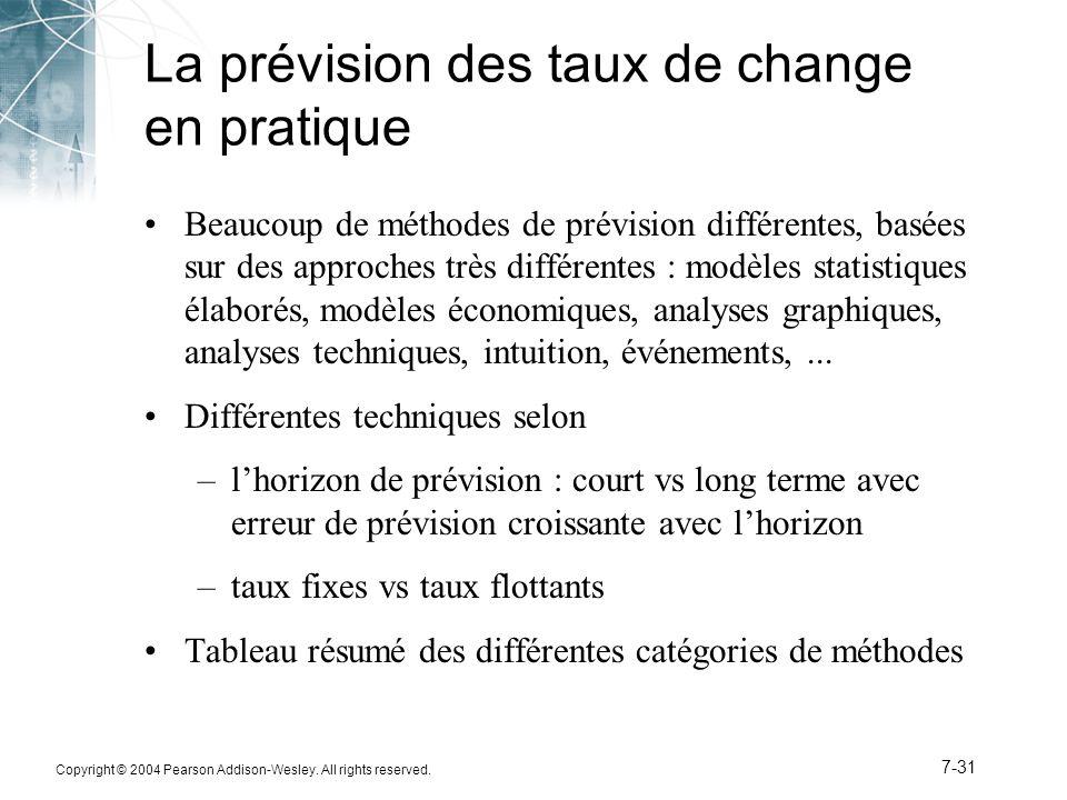 Copyright © 2004 Pearson Addison-Wesley. All rights reserved. 7-31 La prévision des taux de change en pratique Beaucoup de méthodes de prévision diffé