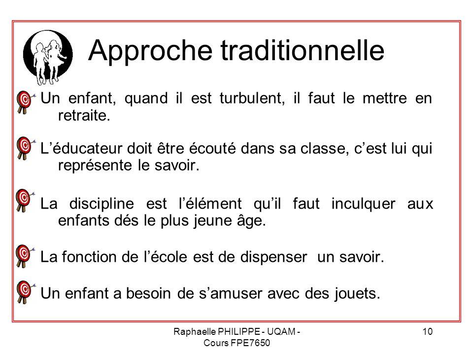 Raphaelle PHILIPPE - UQAM - Cours FPE7650 10 Approche traditionnelle Un enfant, quand il est turbulent, il faut le mettre en retraite. L'éducateur doi