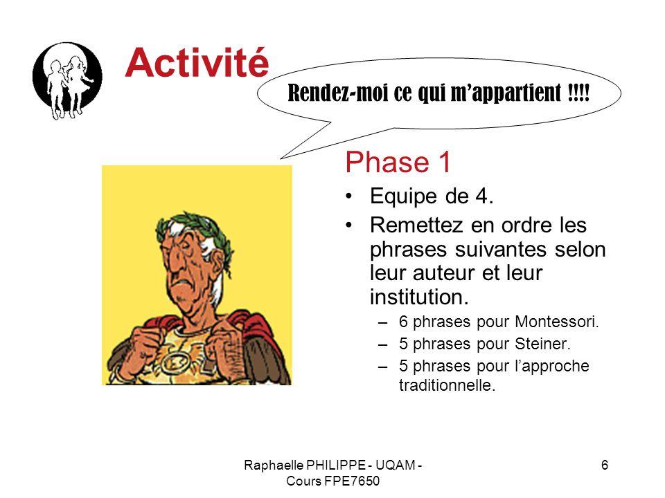 Raphaelle PHILIPPE - UQAM - Cours FPE7650 6 Activité Phase 1 Equipe de 4. Remettez en ordre les phrases suivantes selon leur auteur et leur institutio