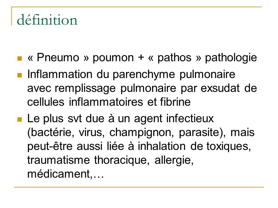 définition « Pneumo » poumon + « pathos » pathologie Inflammation du parenchyme pulmonaire avec remplissage pulmonaire par exsudat de cellules inflammatoires et fibrine Le plus svt due à un agent infectieux (bactérie, virus, champignon, parasite), mais peut-être aussi liée à inhalation de toxiques, traumatisme thoracique, allergie, médicament,…