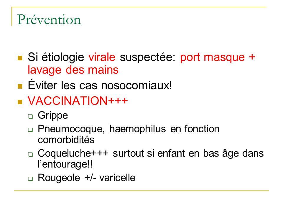 Prévention Si étiologie virale suspectée: port masque + lavage des mains Éviter les cas nosocomiaux! VACCINATION+++  Grippe  Pneumocoque, haemophilu