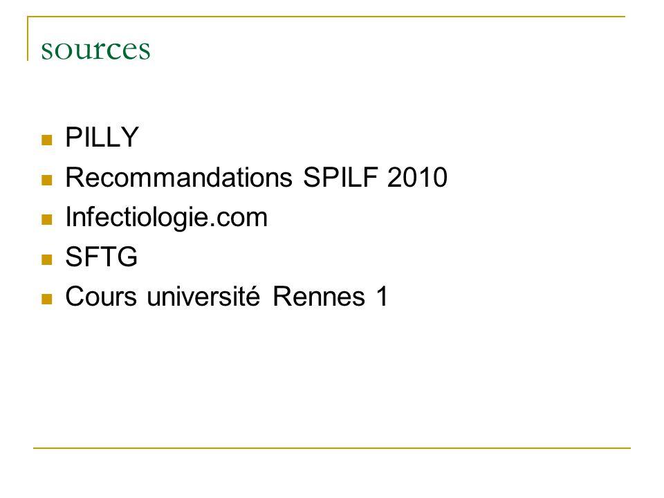 sources PILLY Recommandations SPILF 2010 Infectiologie.com SFTG Cours université Rennes 1