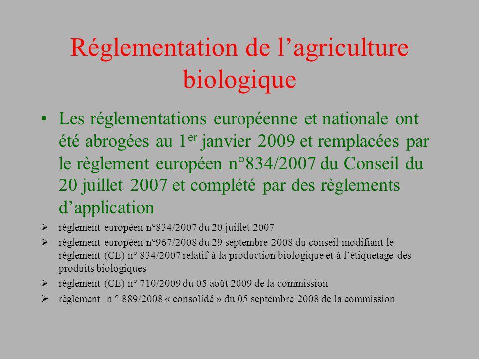 Réglementation de l'agriculture biologique Les réglementations européenne et nationale ont été abrogées au 1 er janvier 2009 et remplacées par le règl