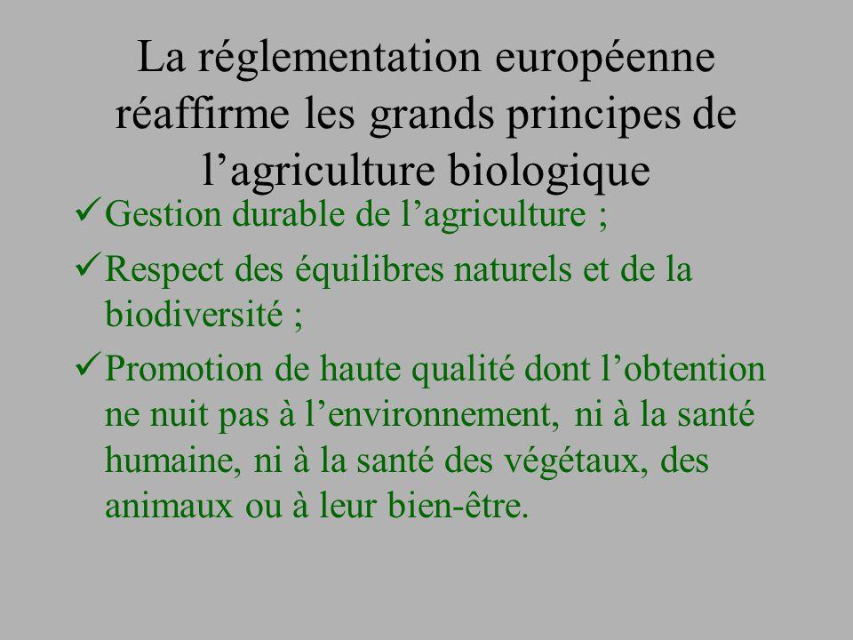 La réglementation européenne réaffirme les grands principes de l'agriculture biologique Gestion durable de l'agriculture ; Respect des équilibres natu