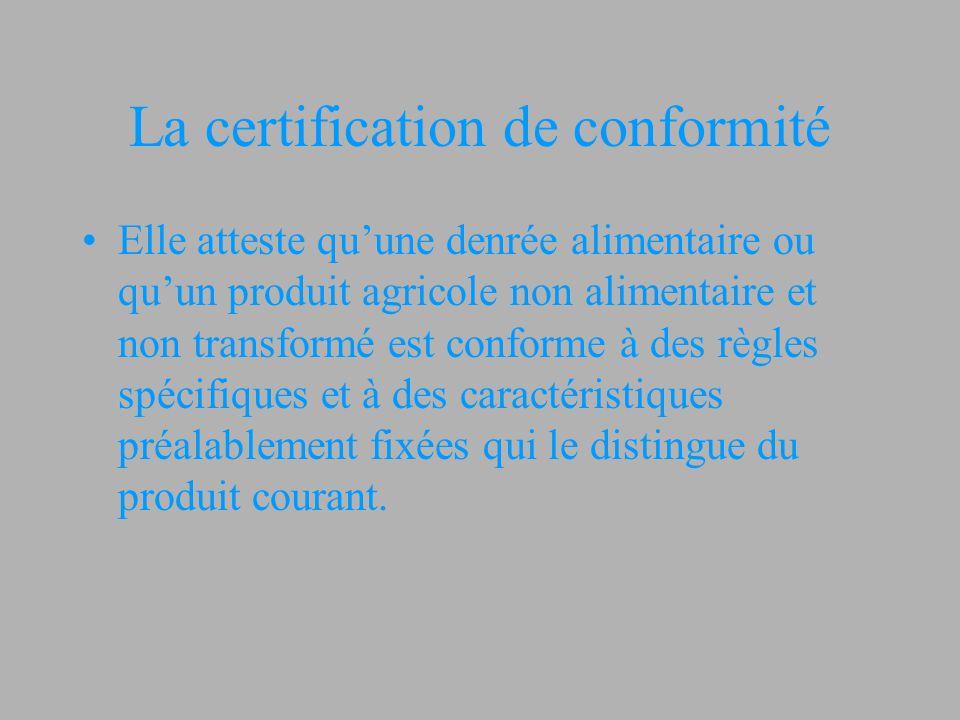 La certification de conformité Elle atteste qu'une denrée alimentaire ou qu'un produit agricole non alimentaire et non transformé est conforme à des r