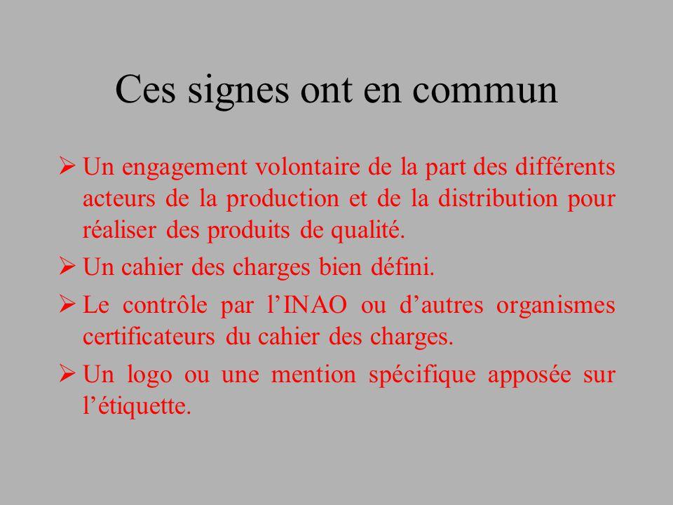 Ces signes ont en commun  Un engagement volontaire de la part des différents acteurs de la production et de la distribution pour réaliser des produit