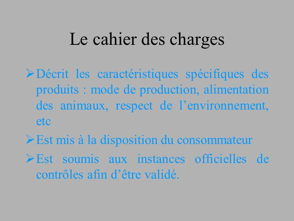 Le cahier des charges  Décrit les caractéristiques spécifiques des produits : mode de production, alimentation des animaux, respect de l'environnemen