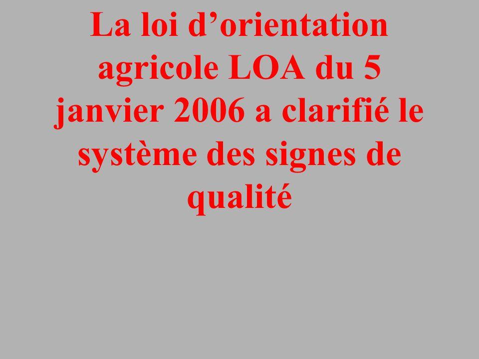 L'ordonnance 2006-1547 du 7/12/2006 A réorganisé le dispositif français des produits agricoles, forestiers ou alimentaires et des produits de la mer.