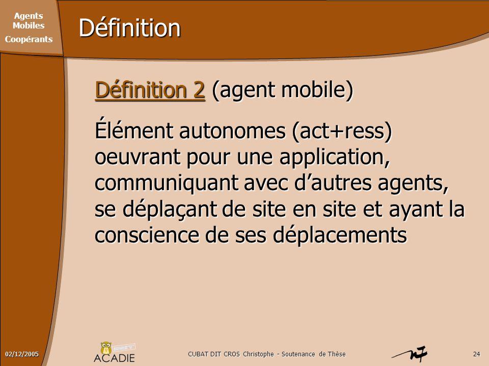 Agents Mobiles Coopérants CUBAT DIT CROS Christophe - Soutenance de Thèse2402/12/2005 Définition Définition 2 (agent mobile) Élément autonomes (act+re