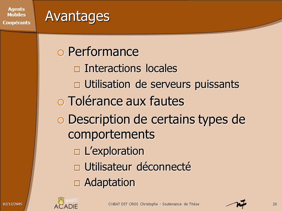 Agents Mobiles Coopérants CUBAT DIT CROS Christophe - Soutenance de Thèse2602/12/2005 Avantages  Performance  Interactions locales  Utilisation de