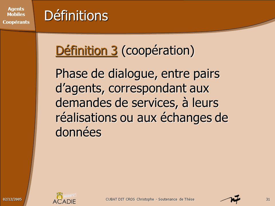 Agents Mobiles Coopérants CUBAT DIT CROS Christophe - Soutenance de Thèse3102/12/2005 Définitions Définition 3 (coopération) Phase de dialogue, entre