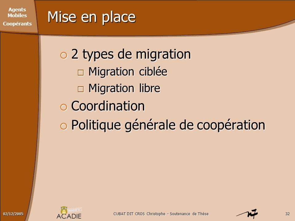 Agents Mobiles Coopérants CUBAT DIT CROS Christophe - Soutenance de Thèse3202/12/2005 Mise en place  2 types de migration  Migration ciblée  Migrat