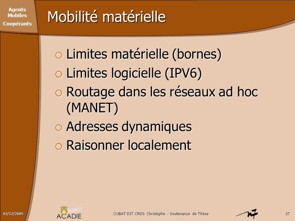 Agents Mobiles Coopérants CUBAT DIT CROS Christophe - Soutenance de Thèse3702/12/2005 Mobilité matérielle  Limites matérielle (bornes)  Limites logi