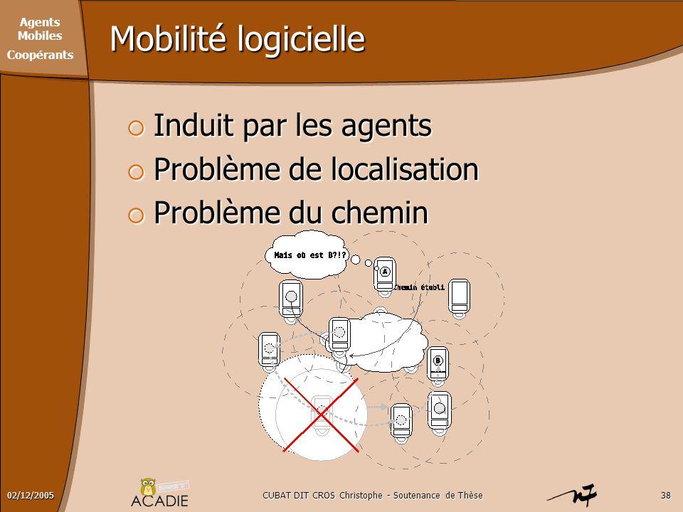 Agents Mobiles Coopérants CUBAT DIT CROS Christophe - Soutenance de Thèse3802/12/2005 Mobilité logicielle  Induit par les agents  Problème de locali