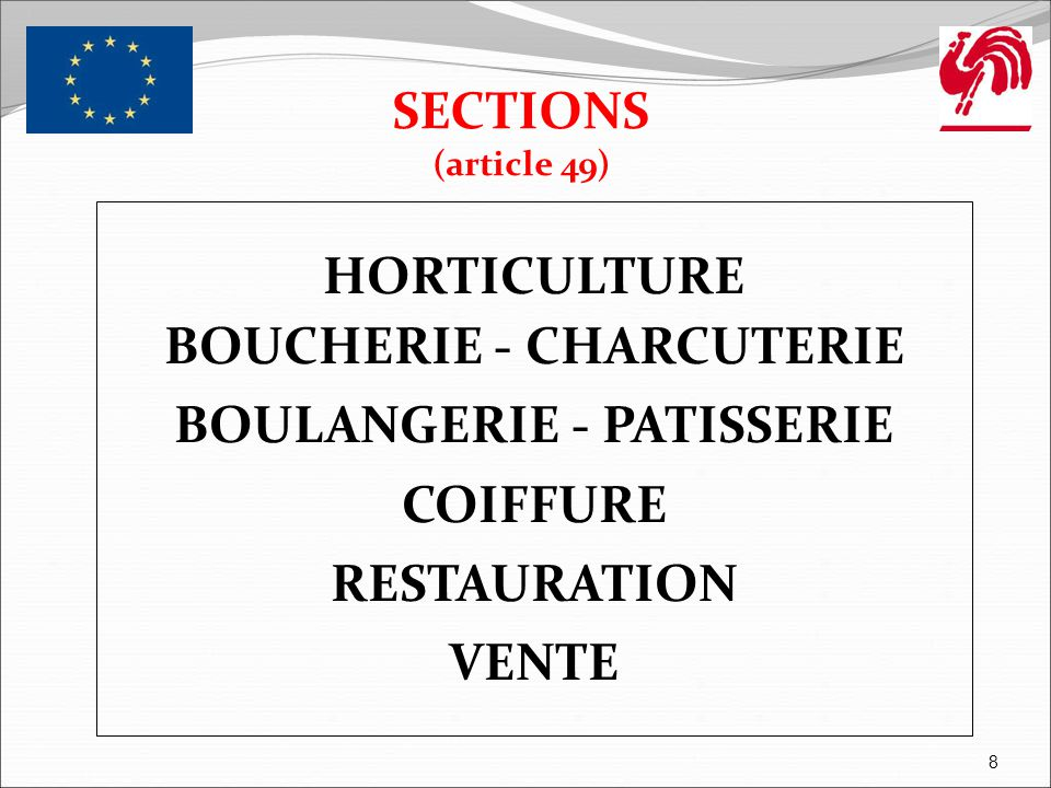 HORTICULTURE SECTIONS (article 49) 9